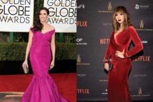 Left: Michaela Watkins Right: Jackie Cruz at Golden Globes 2016