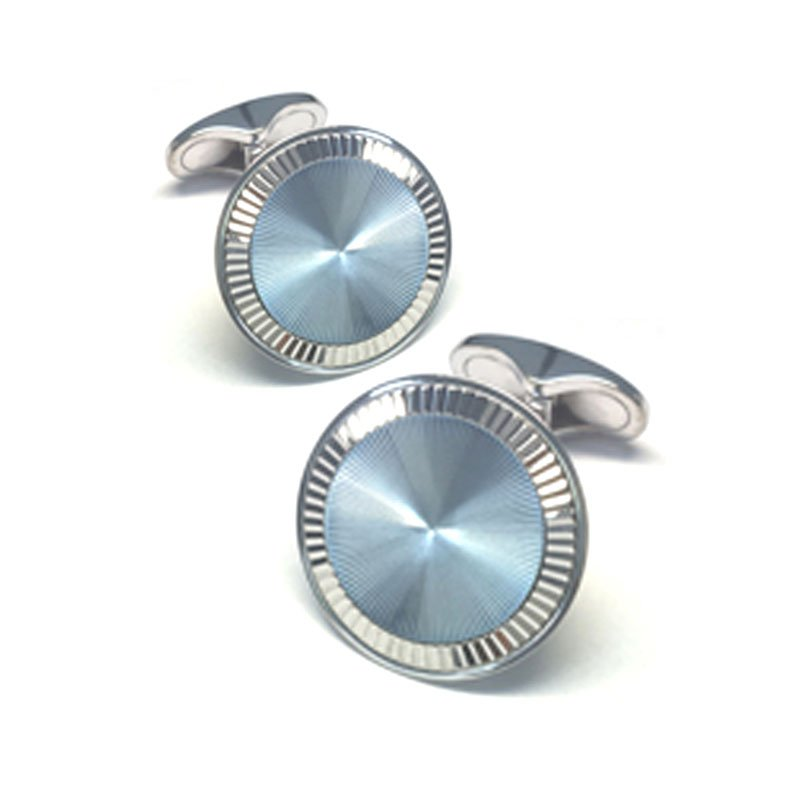 EMK00001-Knar Signature Collection White Gold and Blue Enamel Cufflinks