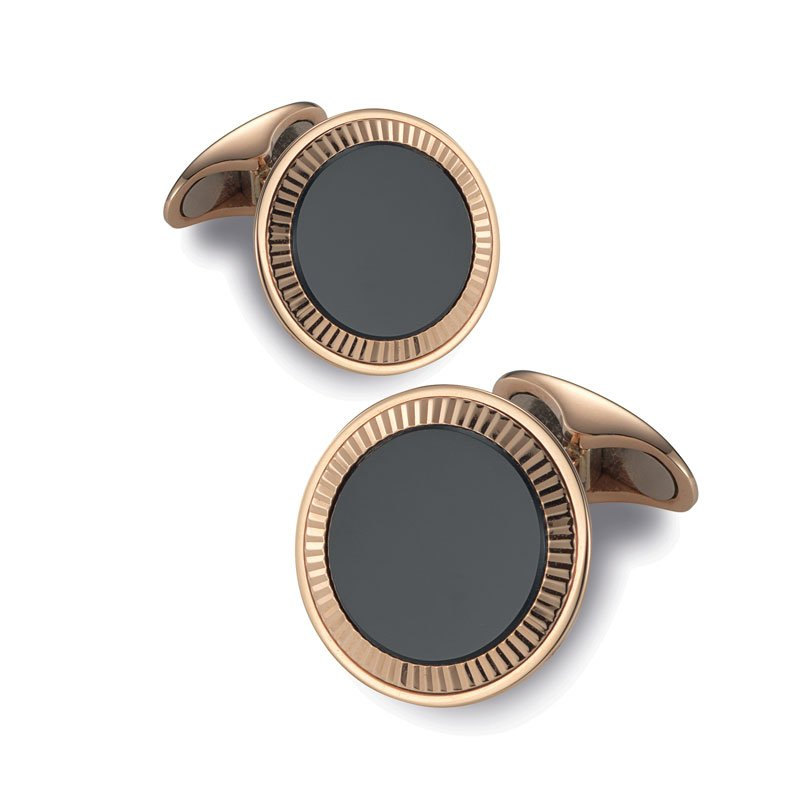 EMK00002-Knar Signature Collection Rose Gold and Onyx Cufflinks
