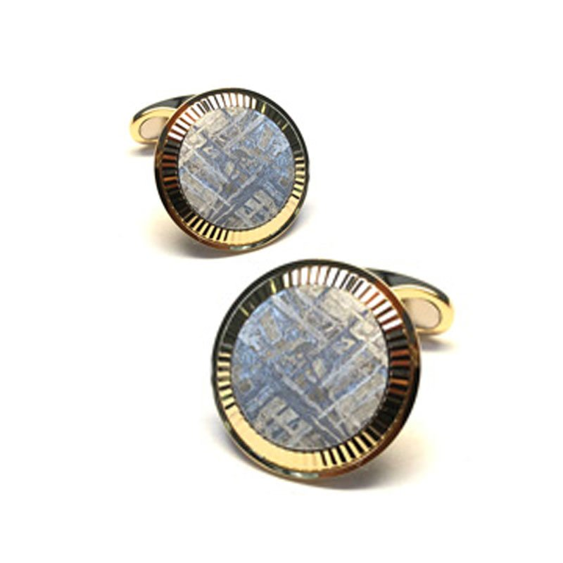 EMK00004-Knar Signature Collection Yellow Gold and Meteorite Cufflinks