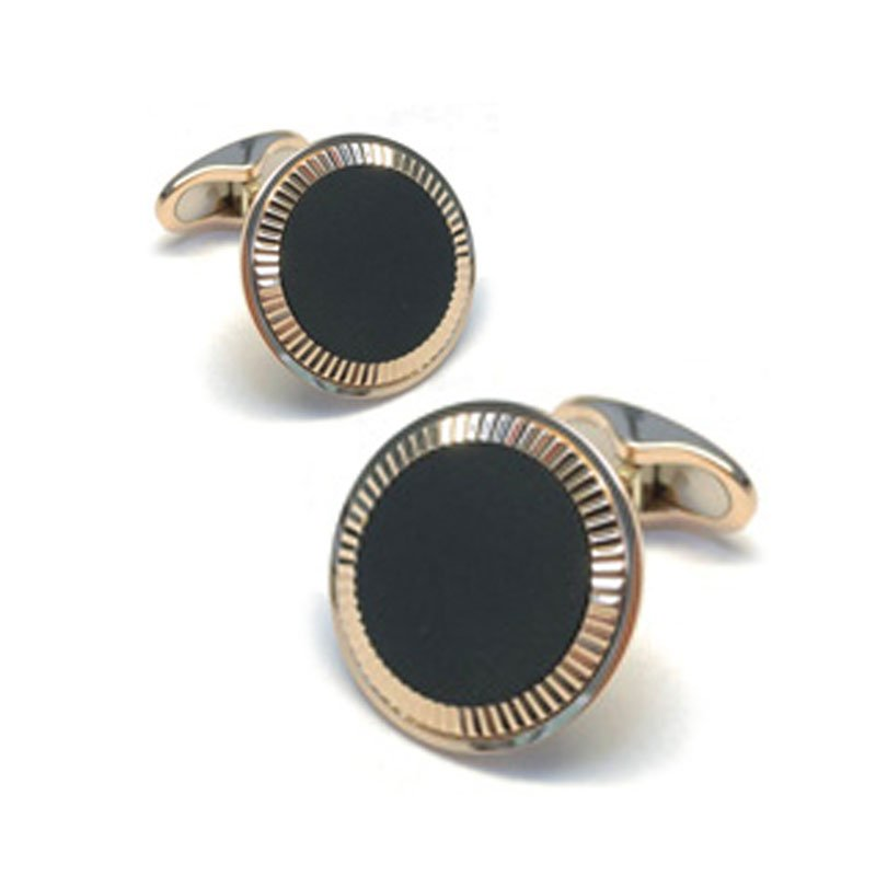EMK00005-Knar Signature Collection Rose Gold and Onyx Cufflinks