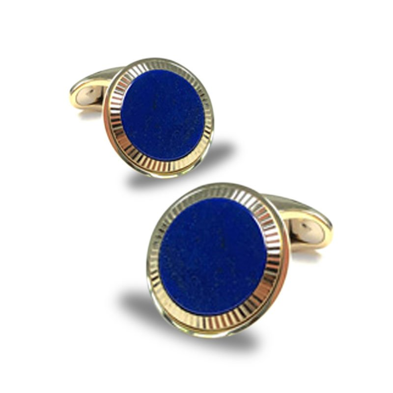 EMK00006-Knar Signature Collection Yellow Gold and Lapis Lazuli Cufflinks