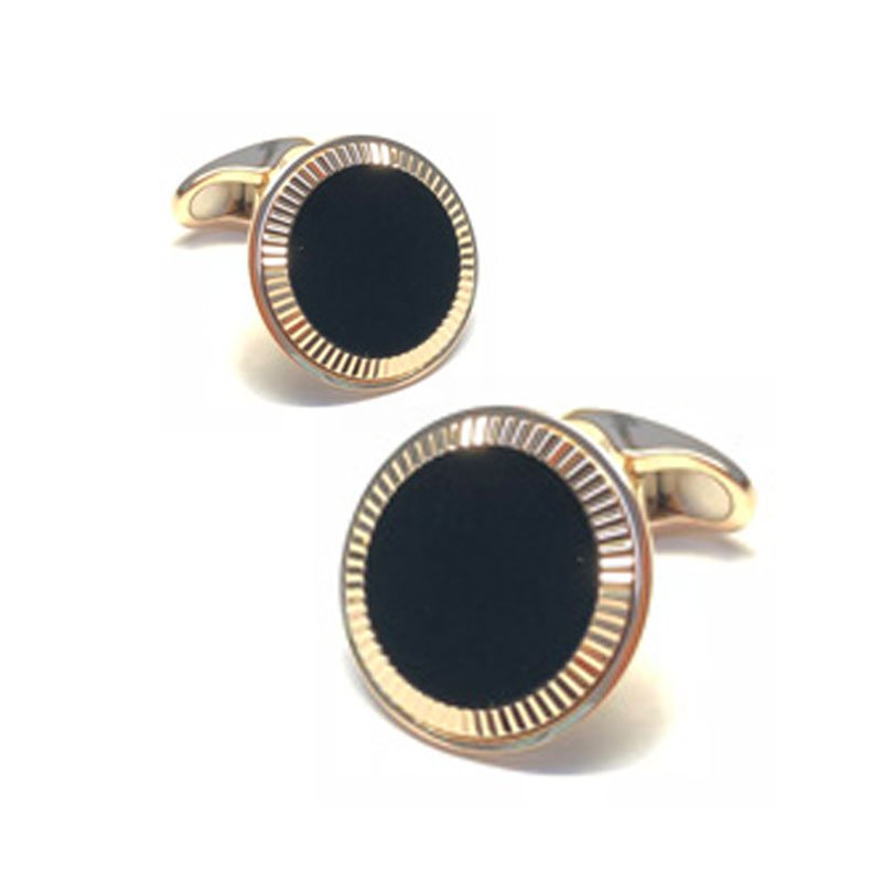 EMK0003-Knar Signature Collection Yellow Gold and Onyx Cufflinks