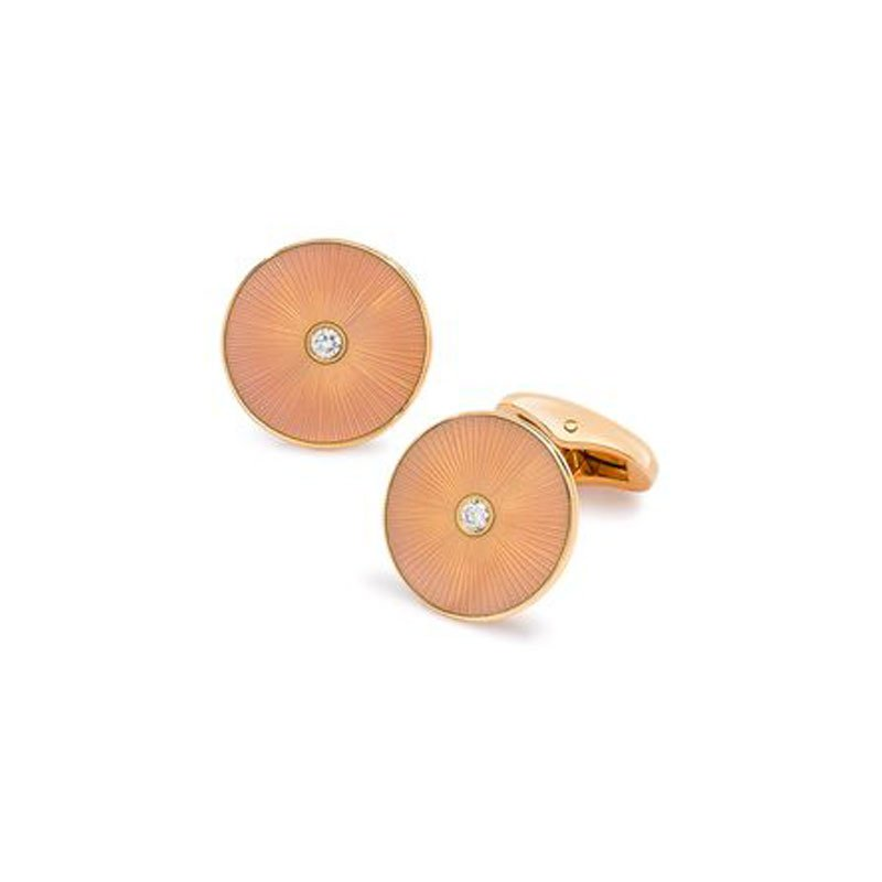 VM00107-Victor-Mayer-Orange-Enamel-Cufflinks