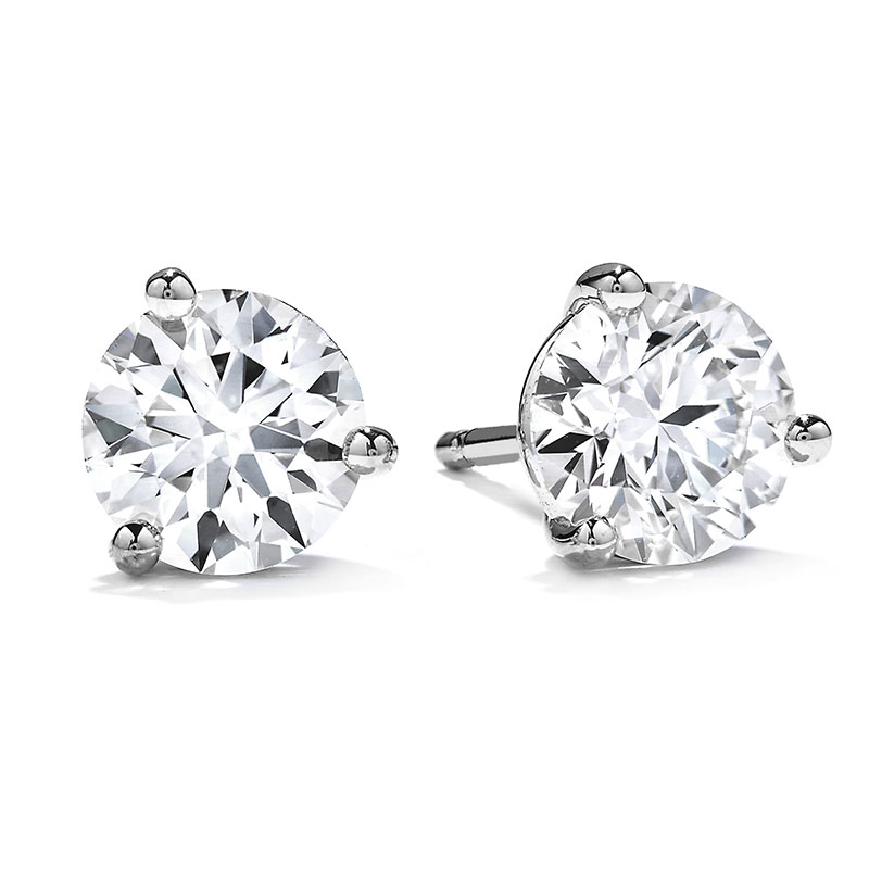 Hearts-on-Fire-Three-Prong-Diamond-Earrings---Average-Ctw-=-0.60/Sensational-Quality