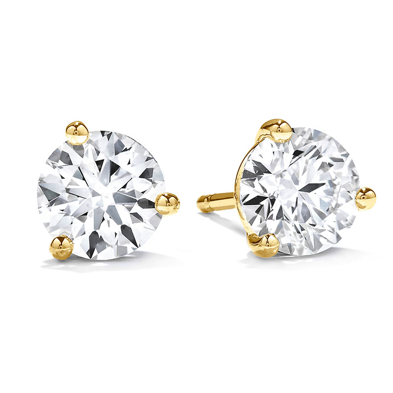 Hearts-on-Fire-Three-Prong-Diamond-Earrings---Average-Ctw-=-0.33