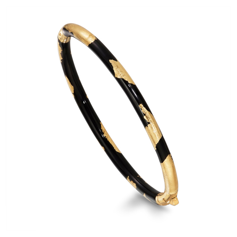 SOHO-18tk-Gold-and-Black-Enamel-Bangle-SO00794-_-Style-No-121XS-FOLIAGE
